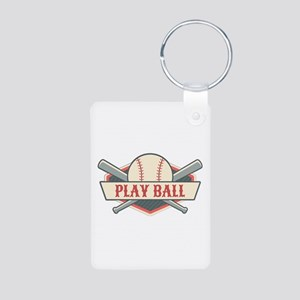 Play Ball Baseball Aluminum Photo Keychain