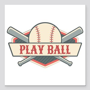 "Play Ball Baseball Square Car Magnet 3"" x 3"""