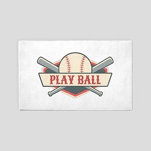 Play Ball Baseball Area Rug