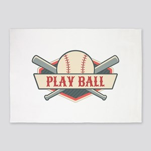 Play Ball Baseball 5'x7'Area Rug