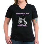 Chopper Bicycle Women's V-Neck Dark T-Shirt