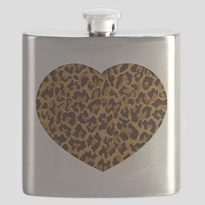 Brown Gold Leopard Print Flask