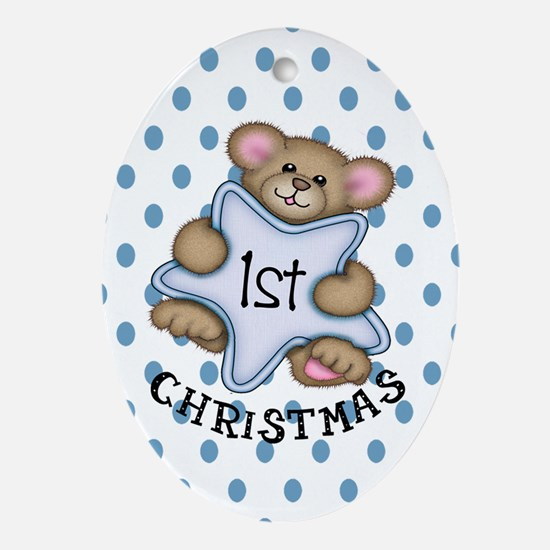 1st Christmas Star Baby Boy Oval Ornament