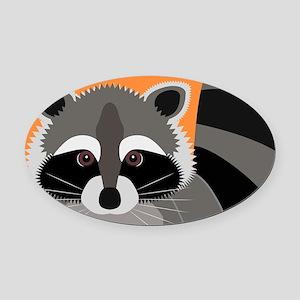 Raccoon Mischief Oval Car Magnet