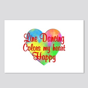 Line Dancing Colors Heart Postcards (Package of 8)