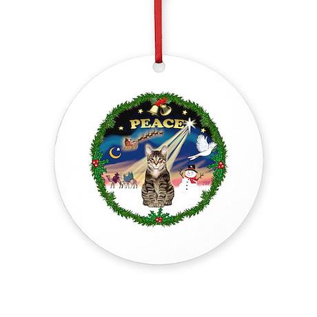 PEACE wreath & brown tabby (SH) Ornament (Round)
