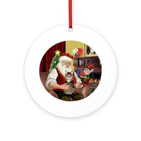 Santa's brown tabby (SH) Ornament (Round)