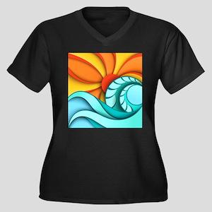 Sun and Sea Women's Plus Size V-Neck Dark T-Shirt