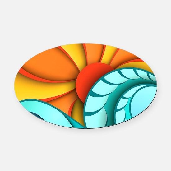 Sun and Sea Oval Car Magnet