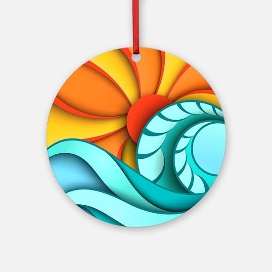 Sun and Sea Round Ornament