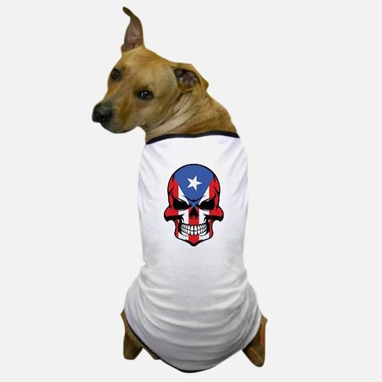Puerto Rican Flag Skull Dog T-Shirt