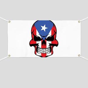 Puerto Rican Flag Skull Banner