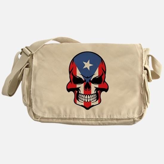 Puerto Rican Flag Skull Messenger Bag
