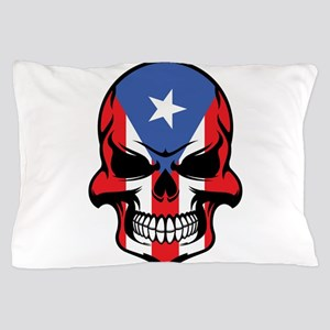 Puerto Rican Flag Skull Pillow Case