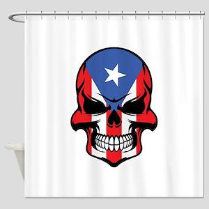 Puerto Rican Flag Skull Shower Curtain