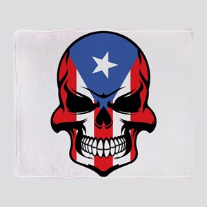 Puerto Rican Flag Skull Throw Blanket