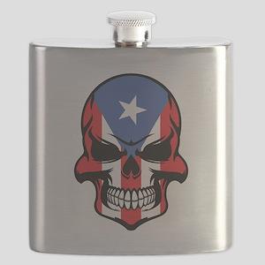 Puerto Rican Flag Skull Flask