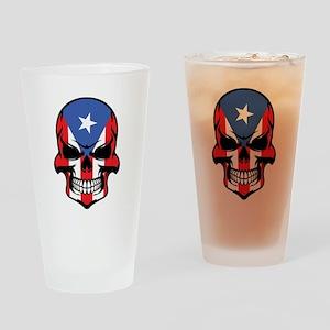 Puerto Rican Flag Skull Drinking Glass