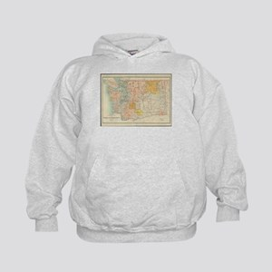 Vintage Map of Washington State (1897) Kids Hoodie