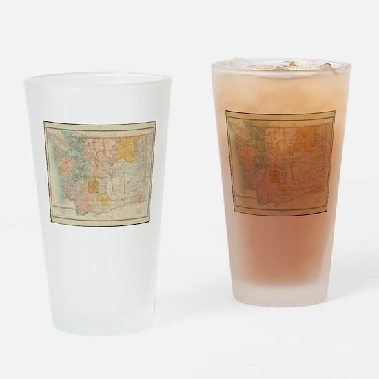 Vintage Map of Washington State (18 Drinking Glass