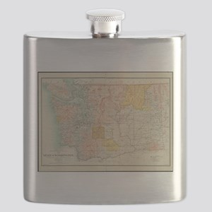 Vintage Map of Washington State (1897) Flask