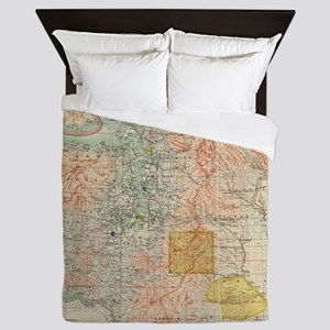 Vintage Map of Washington State (1897) Queen Duvet