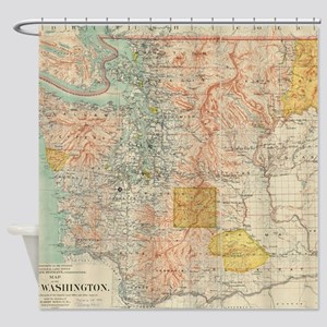 Vintage Map of Washington State (18 Shower Curtain