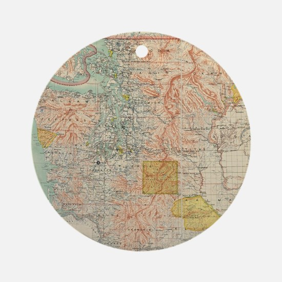 Vintage Map of Washington State (18 Round Ornament