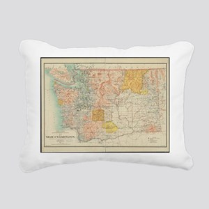 Vintage Map of Washingto Rectangular Canvas Pillow