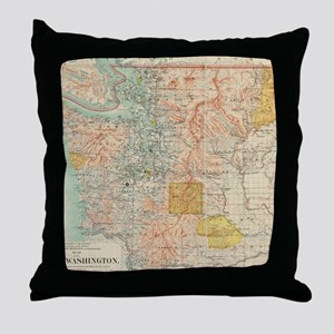 Vintage Map of Washington State (1897 Throw Pillow