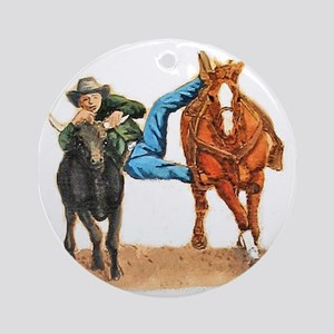 Bull Doggin, Steer Wrestling Ornament (Round)