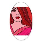 Valentine Girl Oval Sticker