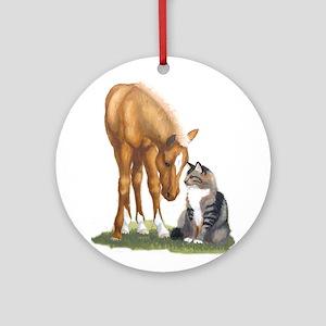 Mini Horse and Cat Ornament (Round)
