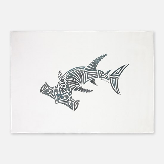 Tribal Hammerhead Shark 5'x7'Area Rug