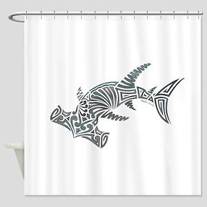 Tribal Hammerhead Shark Shower Curtain