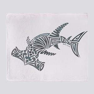 Tribal Hammerhead Shark Throw Blanket