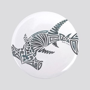 Tribal Hammerhead Shark Button