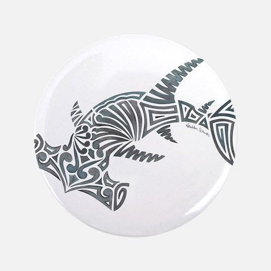 Tribal Hammerhead Shark Button