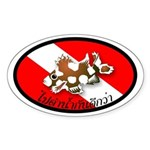 Fish on Dive Flag Oval Sticker