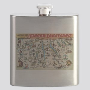 Greetings From Finger Lakes, New York View Flask