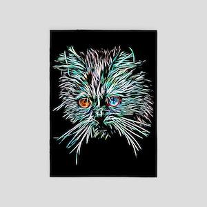 Odd-Eyed Glowing Cat 5'x7'Area Rug