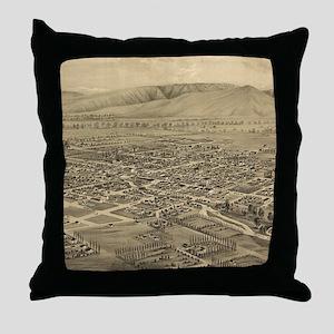 Vintage Pictorial Map of Walla Walla Throw Pillow