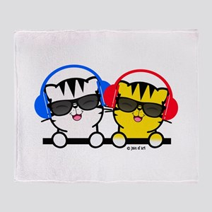 Music Cats Throw Blanket