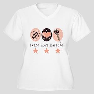 Peace Love Karaoke Women's Plus Size V-Neck T-Shir