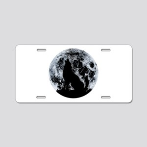 Wolf And Moon Aluminum License Plate