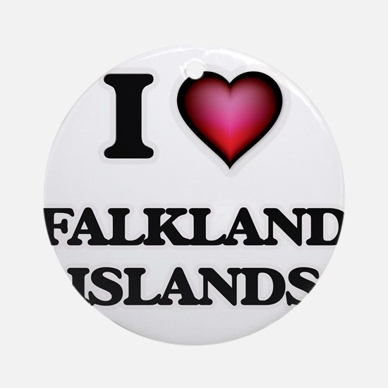 I love Falkland Islands Round Ornament