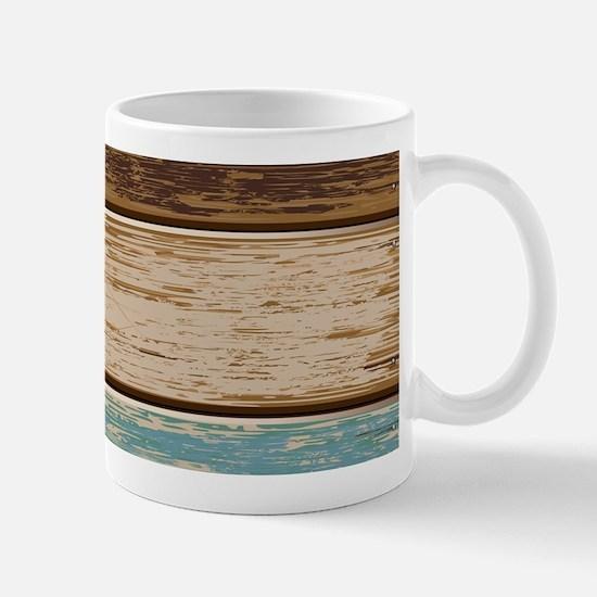 Painted Wood Teal Mugs