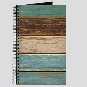 Painted Wood Teal Journal
