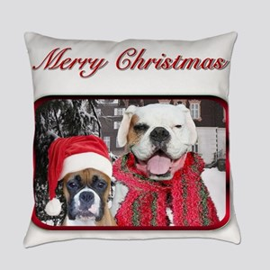 christmas boxer dogs Everyday Pillow