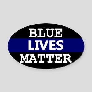 Blue Lives Matter Blue Stripe Oval Car Magnet